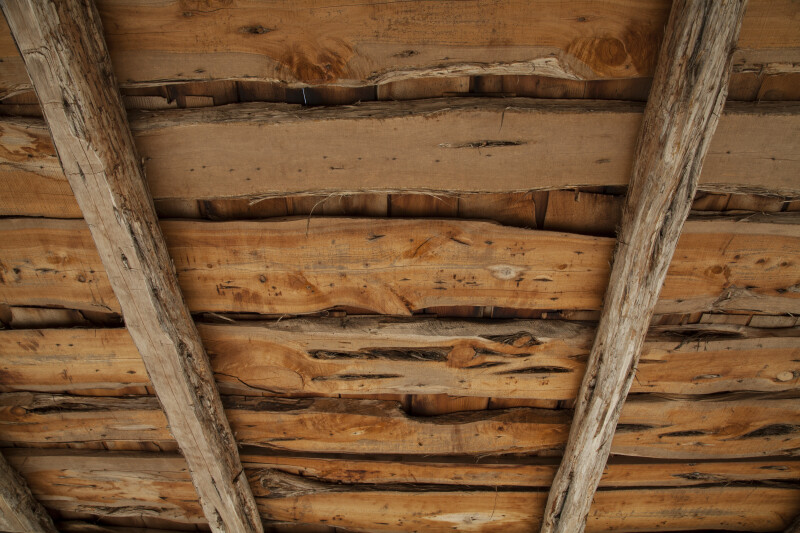 Wooden Slabs of Schumacher House's Roof at the San Antonio Botanical Garden