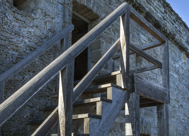Wooden Stairway from Battlements to Observation Deck