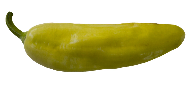 Yellow Chili Pepper on White Background