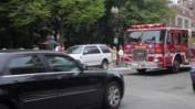 Fire truck Passing Through Narrow Street in Boston