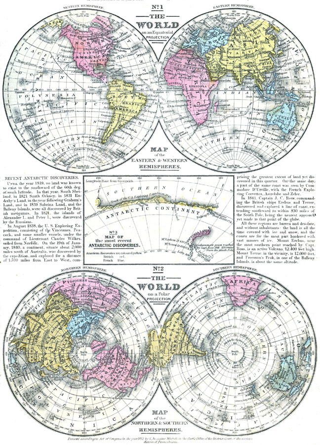 Map of the world on an equatorial projection and polar projection map of the world on an equatorial projection and polar projection gumiabroncs Image collections