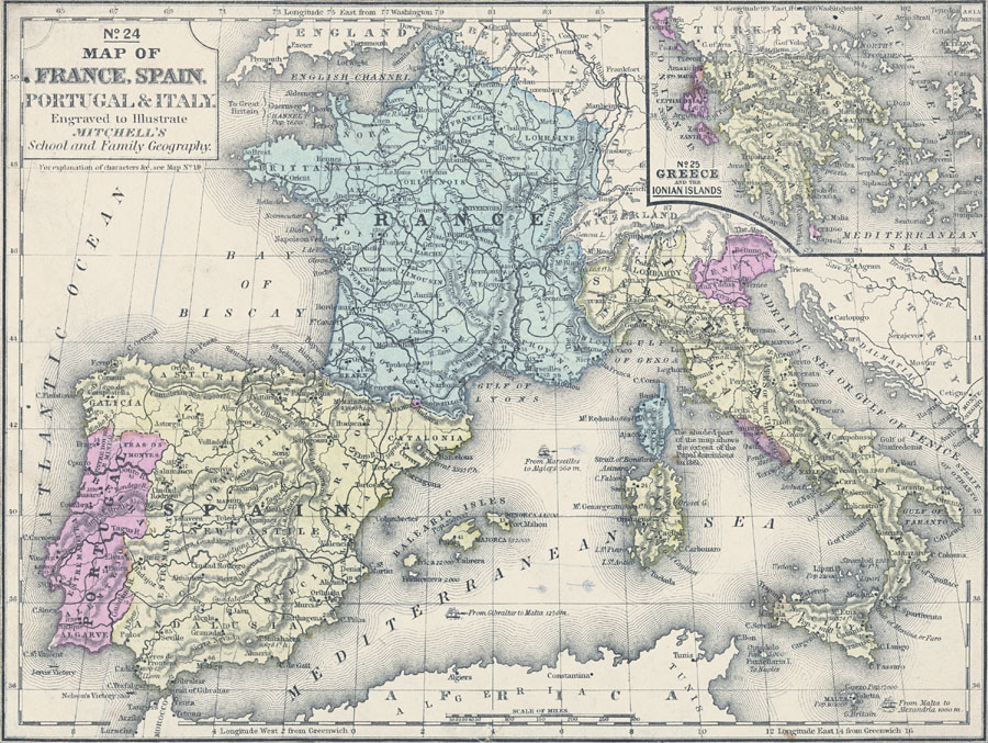 Map of France, Spain, Portugal, Italy, and Greece