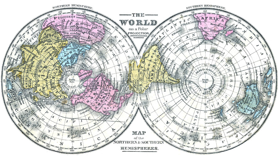 Map Of The World On A Polar Projection Where Is The Arctic Earth Coloring Page