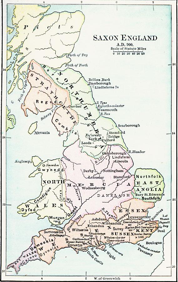 Map Of England 1000 Ad.Saxon England