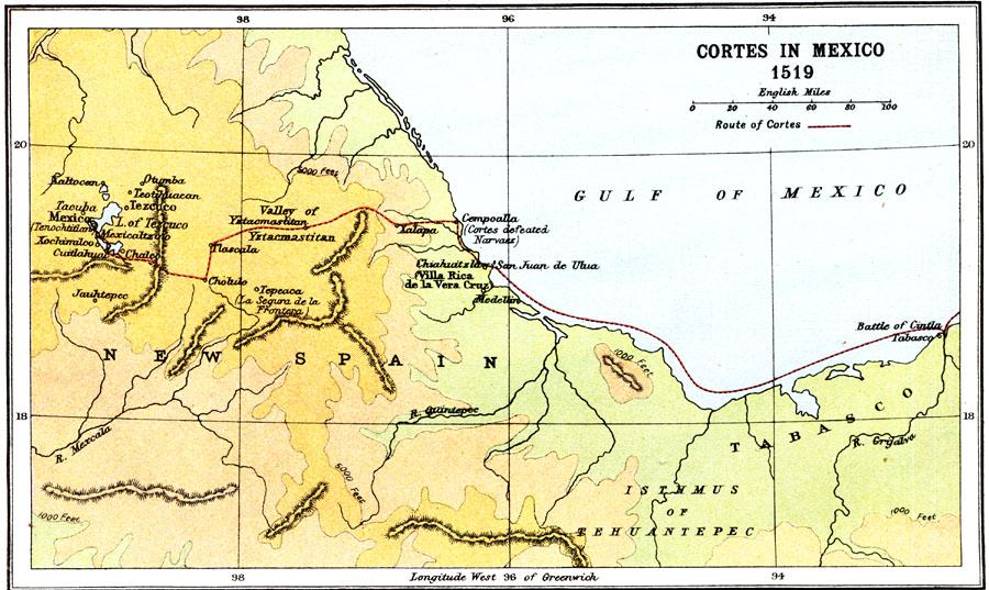 Hernan Cortes Exploration Route Map: Cortes In Mexico