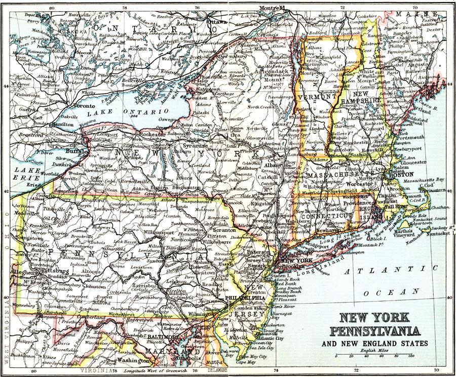 New York Pennsylvania And New England States