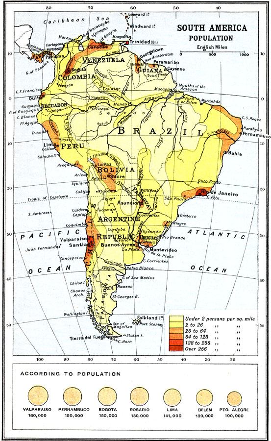 Jpg - South american population map