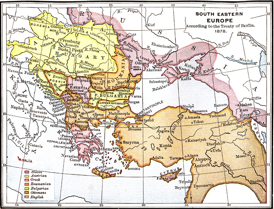 South Eastern Europe According To The Treaty Of Berlin