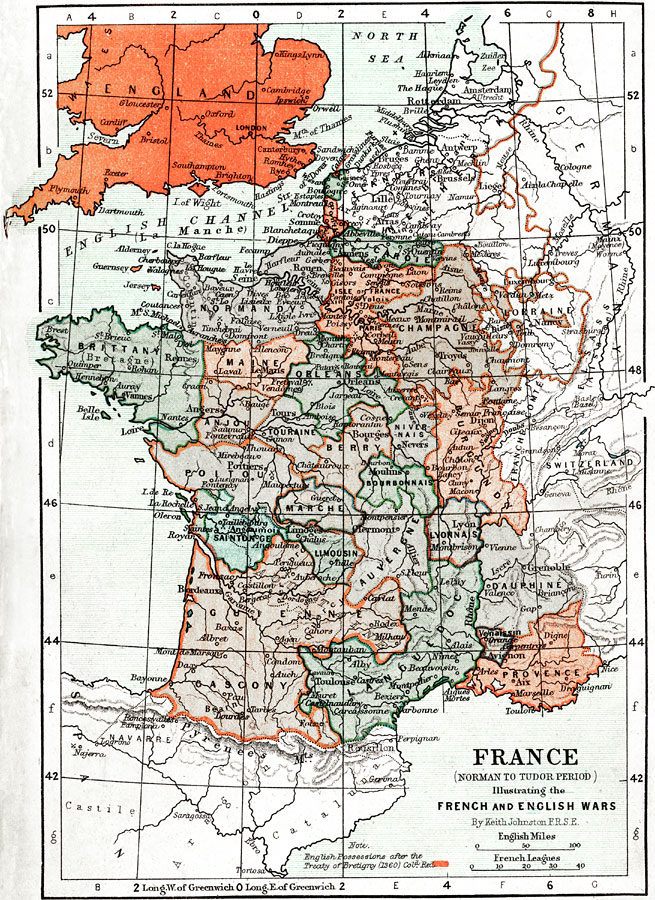Map Of France In English.France And England During The Norman To Tudor Period