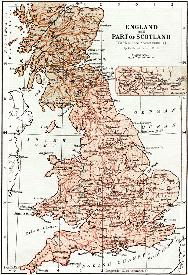 Map Of England Showing York.England And Part Of Scotland During The York And Lancaster Period