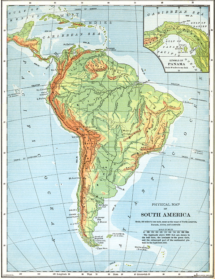 Physical Map Of South America And Mexico