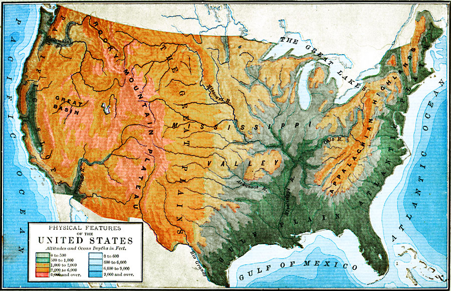Map Of United States And Canada Physical Features Map Of United - Physical features of canada and the united states
