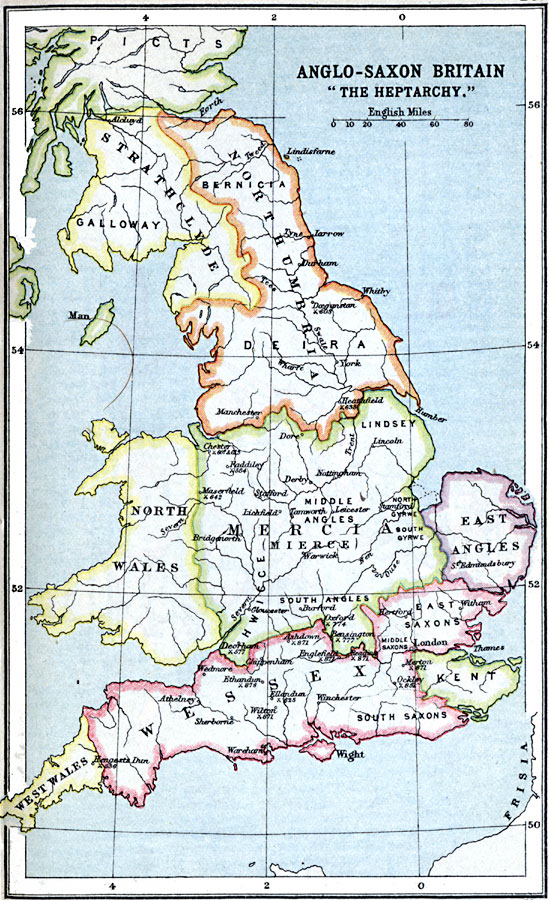 Anglo Saxon Map Of England.Anglo Saxon Britain The Heptarchy