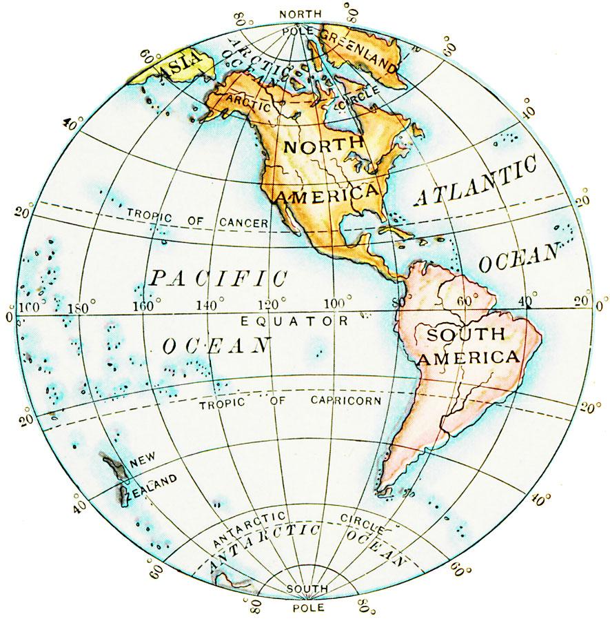 Western hemisphere map study