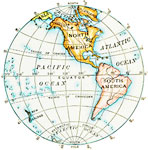 A Map Showing The Western Hemisphere.
