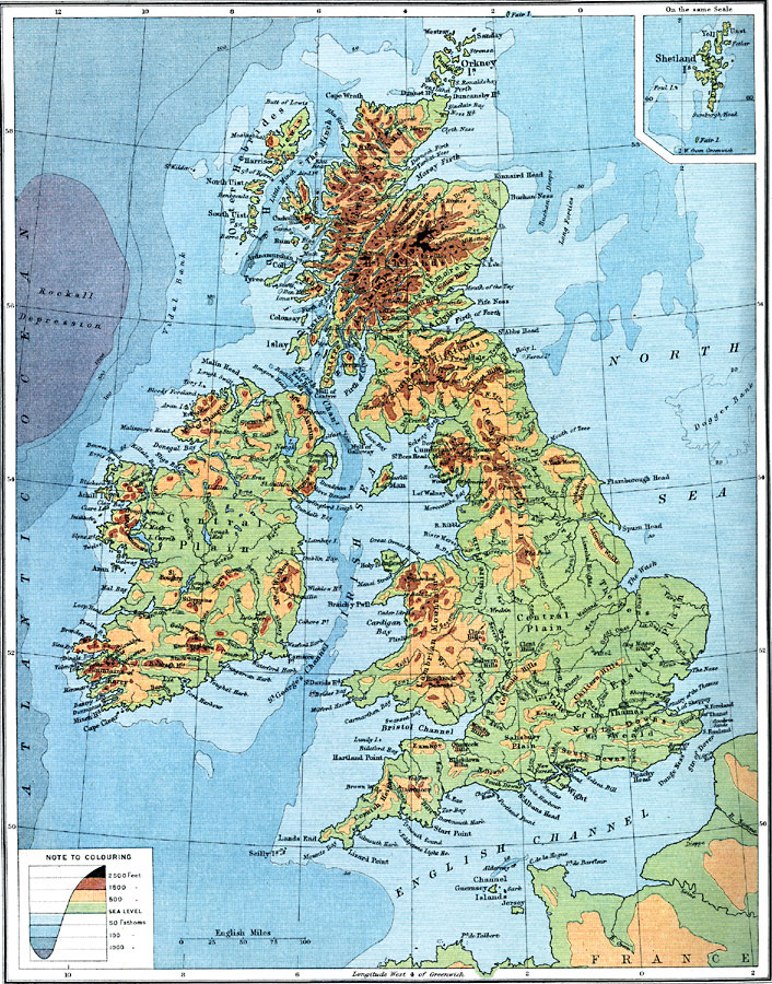 British Isles Physical Map British Isles Bathy