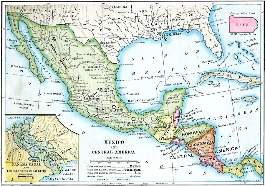 Jpg - Map of mexico and central america