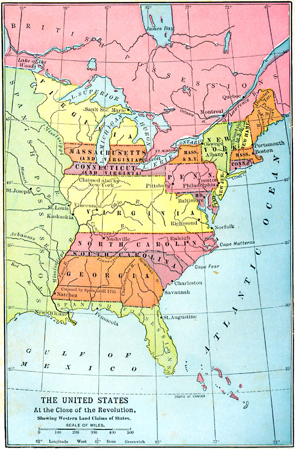 The United States At The Close Of The Revolution Showing Land
