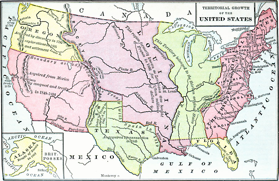 Map Of Louisiana Territory.Territorial Growth Of The United States
