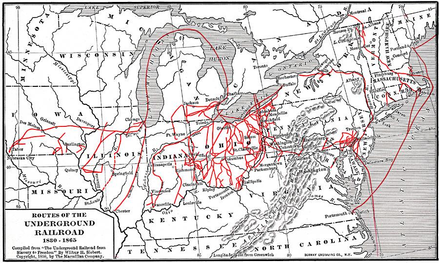 Underground Railroad New York Map.Routes Of The Underground Railroad