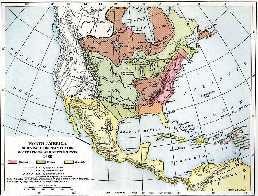 North America in 1689