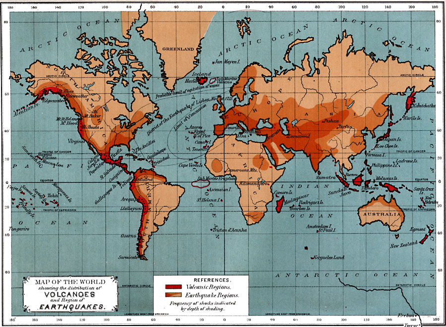 2557g map of the world showing the distribution of volcanoes and region of earthquakes gumiabroncs Gallery