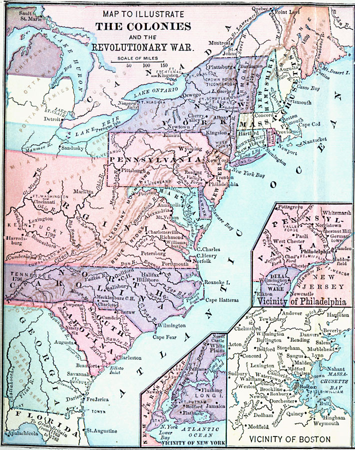 Of The North American Colonies Thirteen Colonies Map - Map of us after revolutionary war