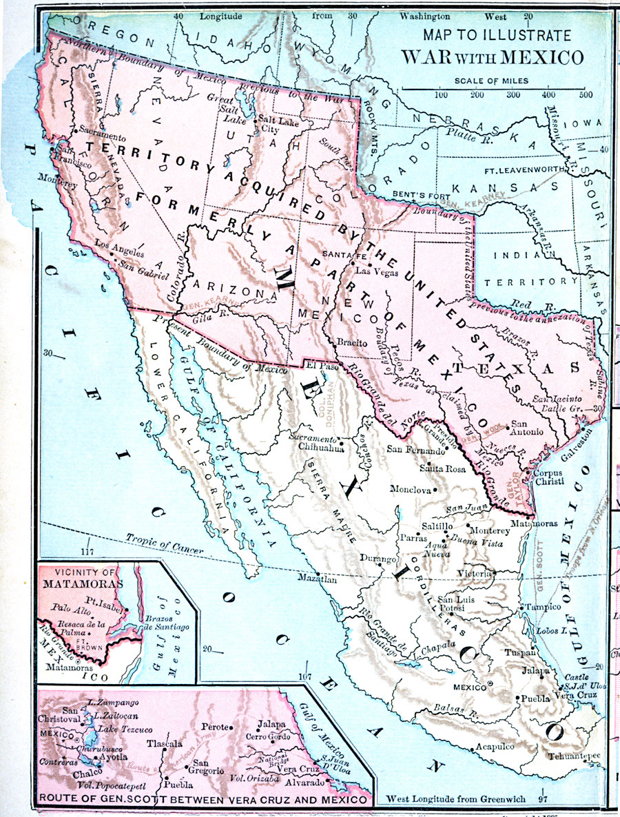 A Map Of Mexico And Southern United States Showing The Campaigns And Battle Sites Of The Mexican American War 1846 1848 The Map Shows The Territory
