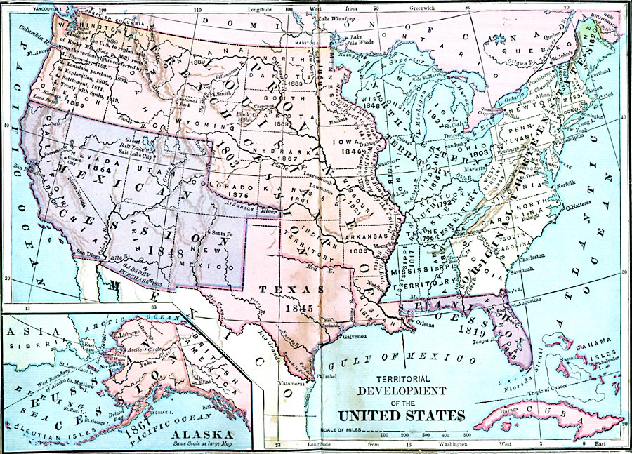 Map Of Us 1889 Map of A map from 1889 of North America showing the expansion in