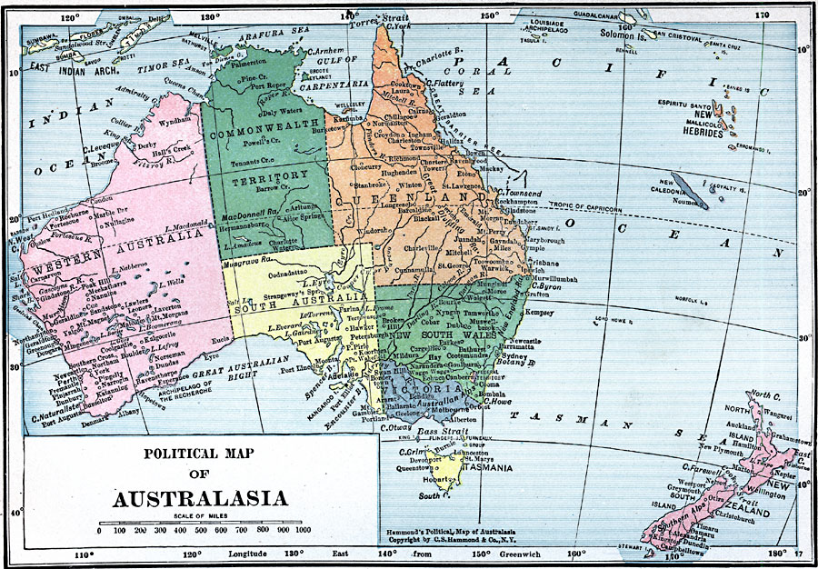 Political Map Of Australasia