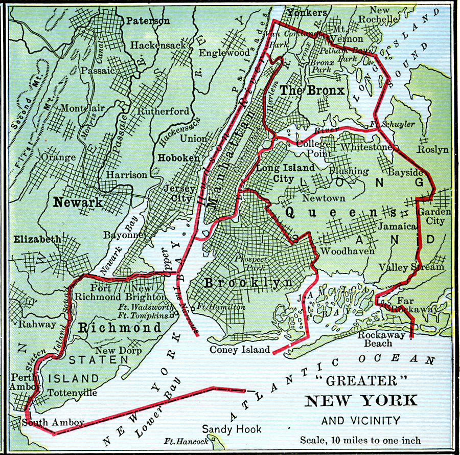 Map Of Greater New York City.Greater New York City