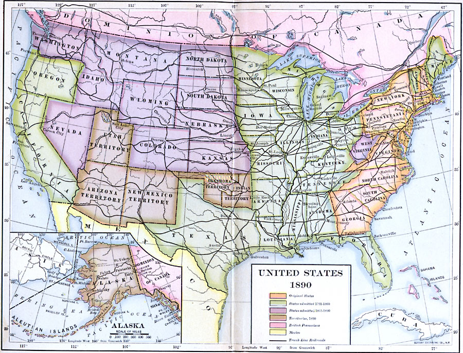 The United States In 1890 - Map-of-the-us-in-1890
