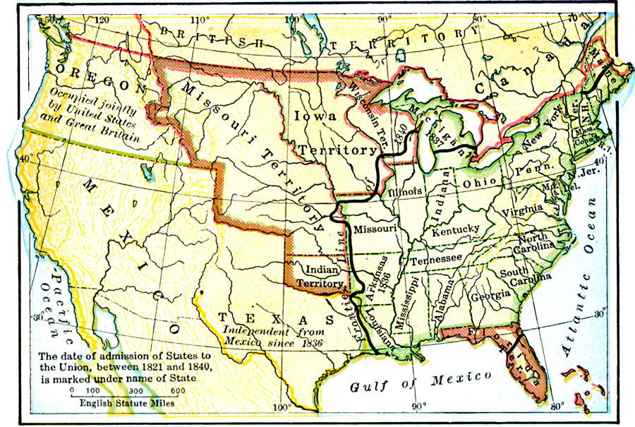 us map in 1840 Map Of The United States In 1840