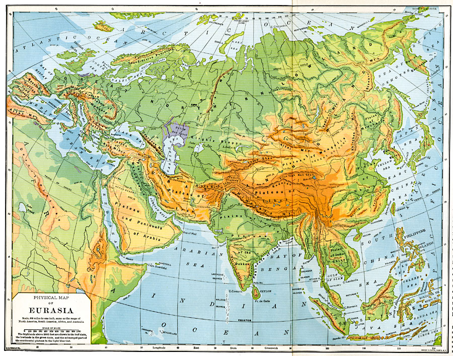 Physical Map of Eurasia, 1901