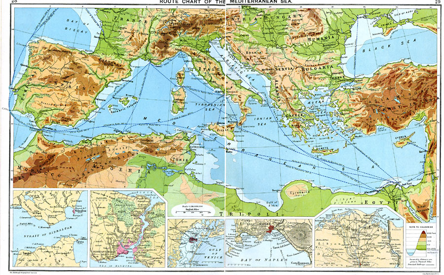 route chart of the mediterranean sea
