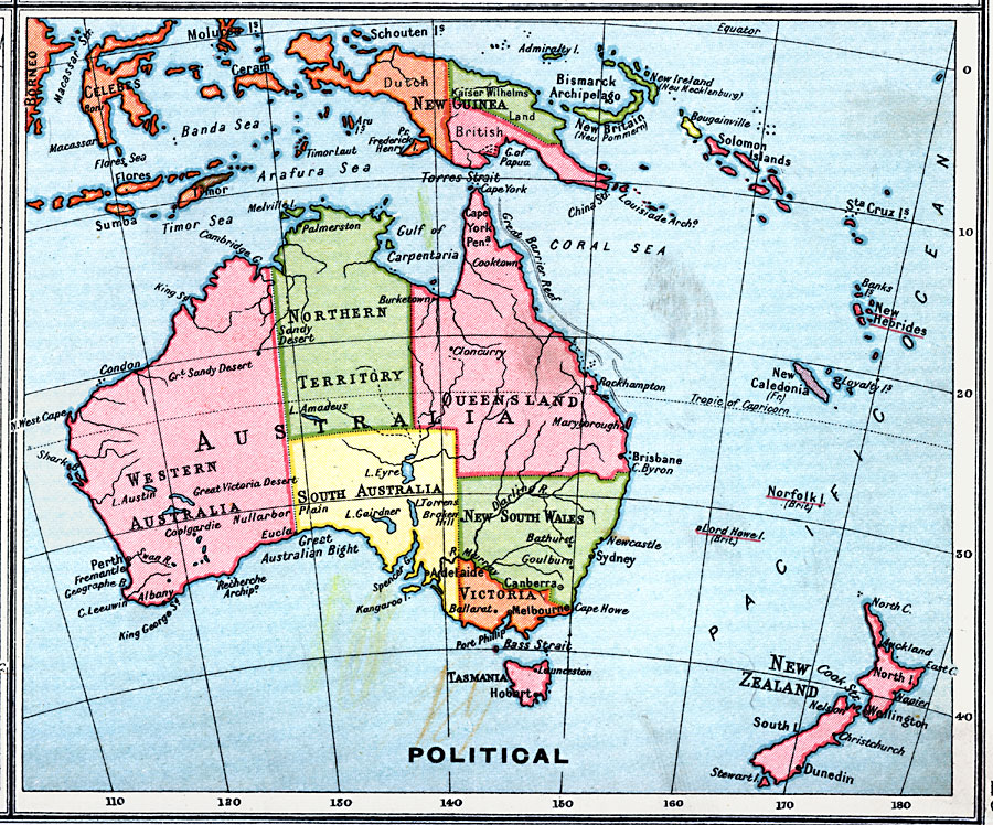 Australia Map Political.Political Map Of Australia And Surrounding Area