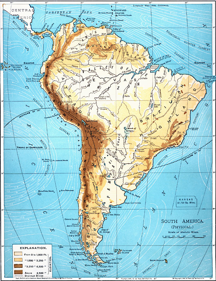 South America (Physical), borders