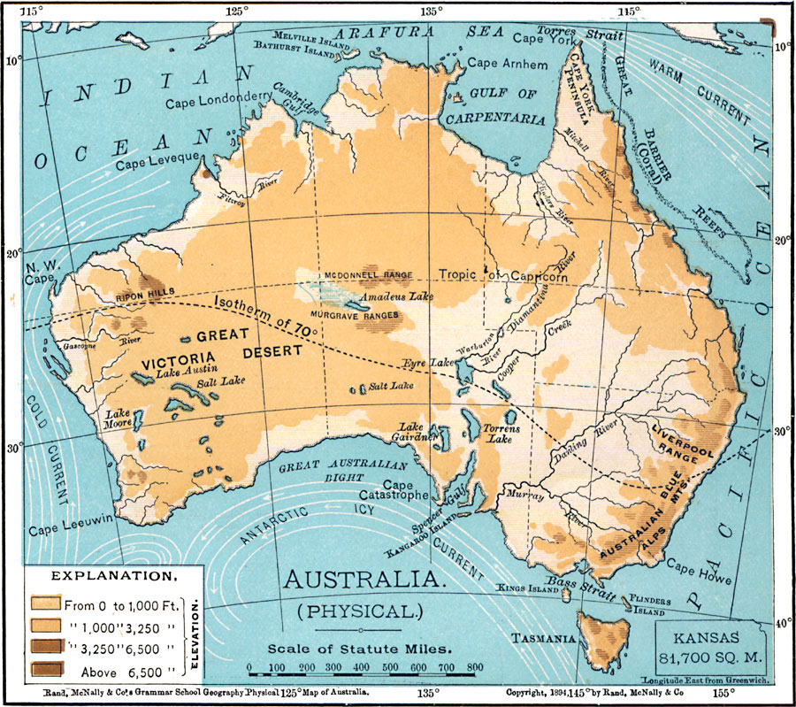 Jpg - Australia physical map