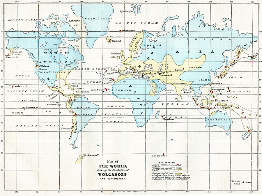 3134g map of the world showing the distribution of volcanoes and earthquakes gumiabroncs