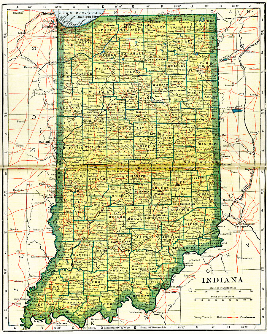 state of indiana map with cities and counties Indiana