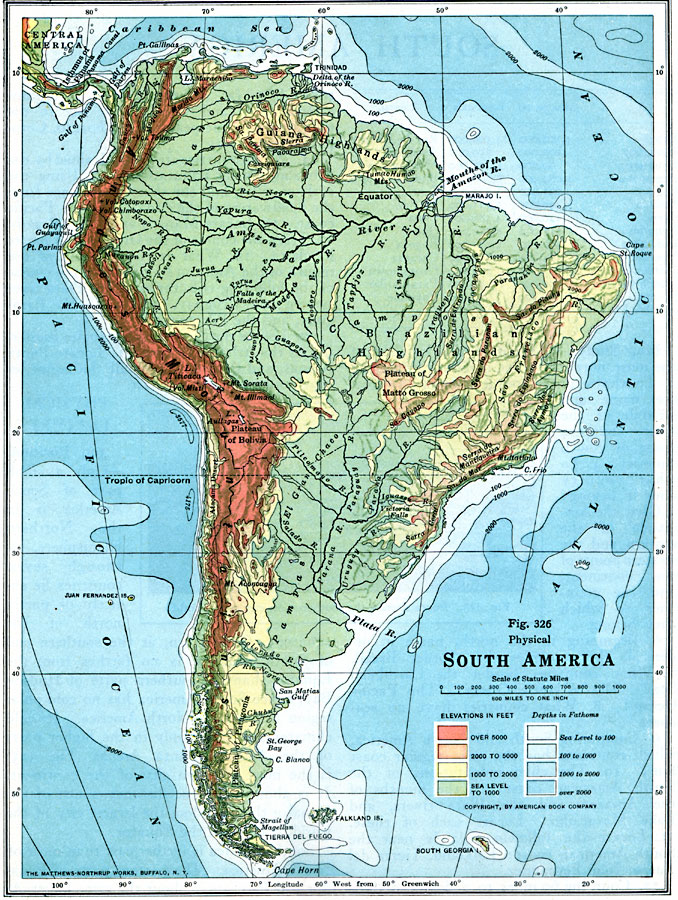 Jpg - South america physical map
