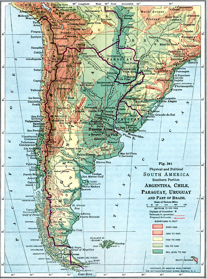 Physical And Political Map Of Southern South America