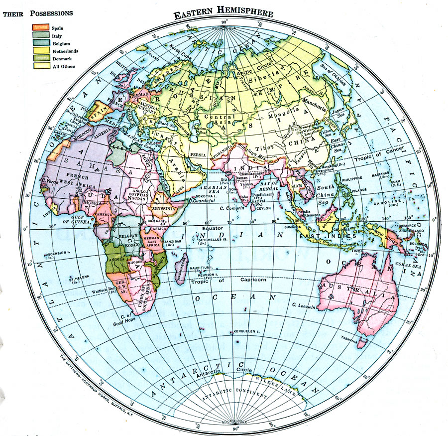 World Map Hemispheres Countries. Countries and European Possessions in the Eastern Hemisphere 4457 jpg