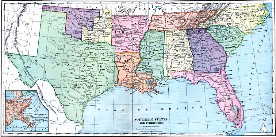 Jpg - Southern us map with cities