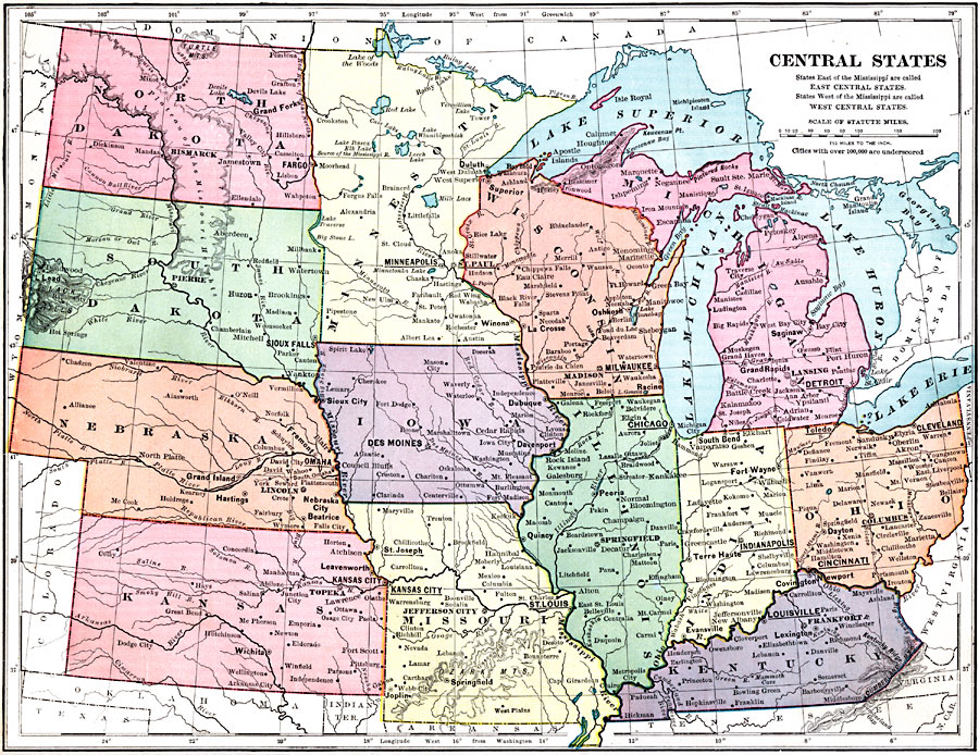 Jpg - Us map of midwest states