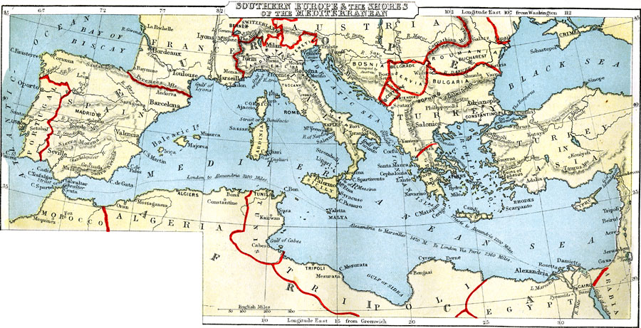 map of southern europe and mediterranean Southern Europe and Mediterranean Shore