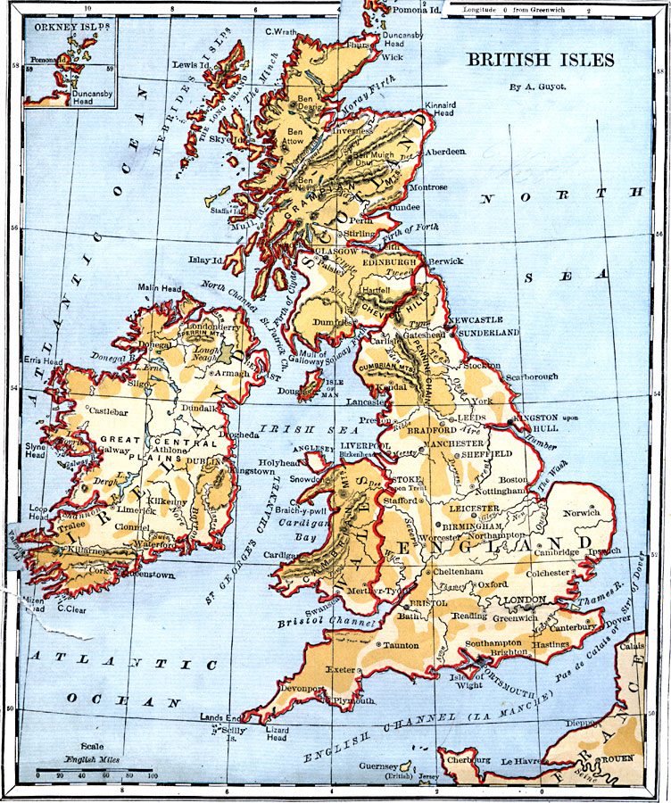 British Isles Physical Map British Isles