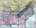 First Defenses Of The South During The American Civil War 1860 1865 A Map From 1920 Of The Southeastern States Showing The South S First Line Of Defenses