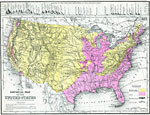 A Map From 1890 Of The United States Showing Physical Features And Annual Mean Temperatures And Rainfall The Map Shows High Mountains And Lower Ranges