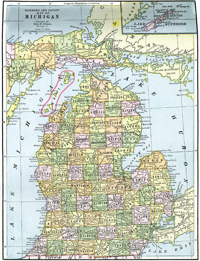 Jpg - County map of michigan with cities